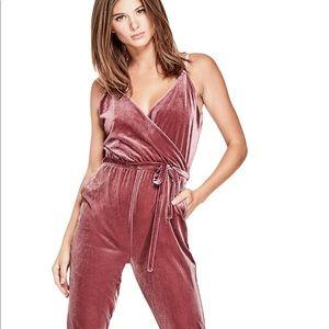 Guess velvet burgundy jumpsuit/ romper.